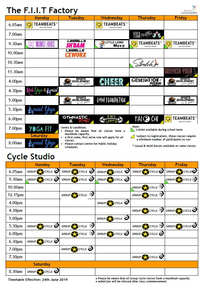 The F.I.I.T Factory Timetable